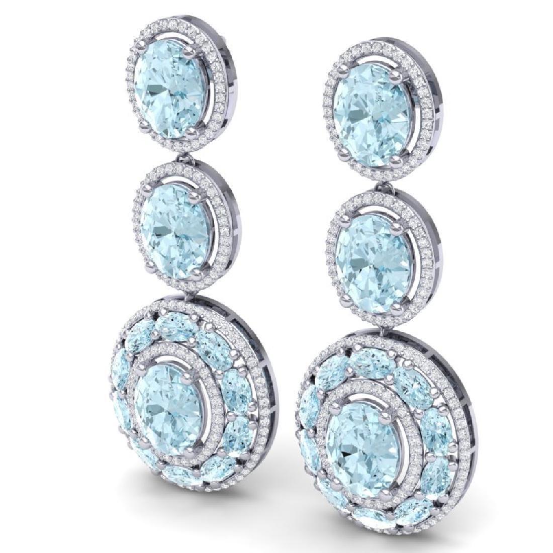 34.52 CTW Royalty Sky Topaz & VS Diamond Earrings 18K - 2