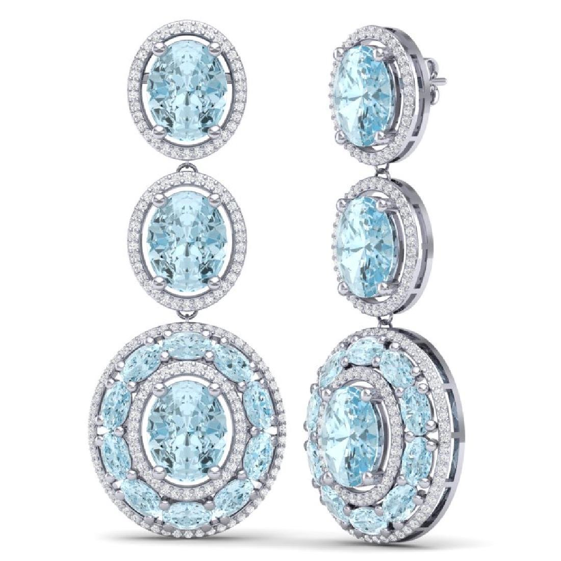 34.52 CTW Royalty Sky Topaz & VS Diamond Earrings 18K - 3