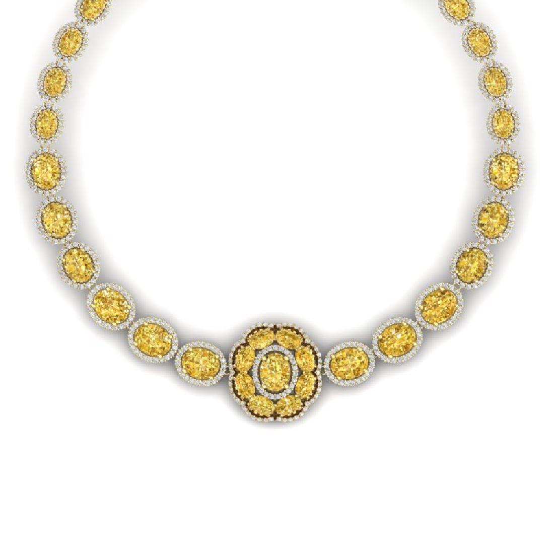 51.37 CTW Royalty Canary Citrine & VS Diamond Necklace