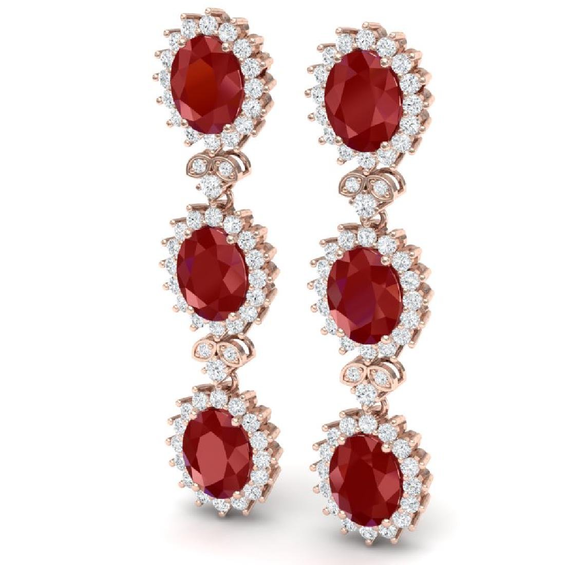 24.52 CTW Royalty Designer Ruby & VS Diamond Earrings - 2