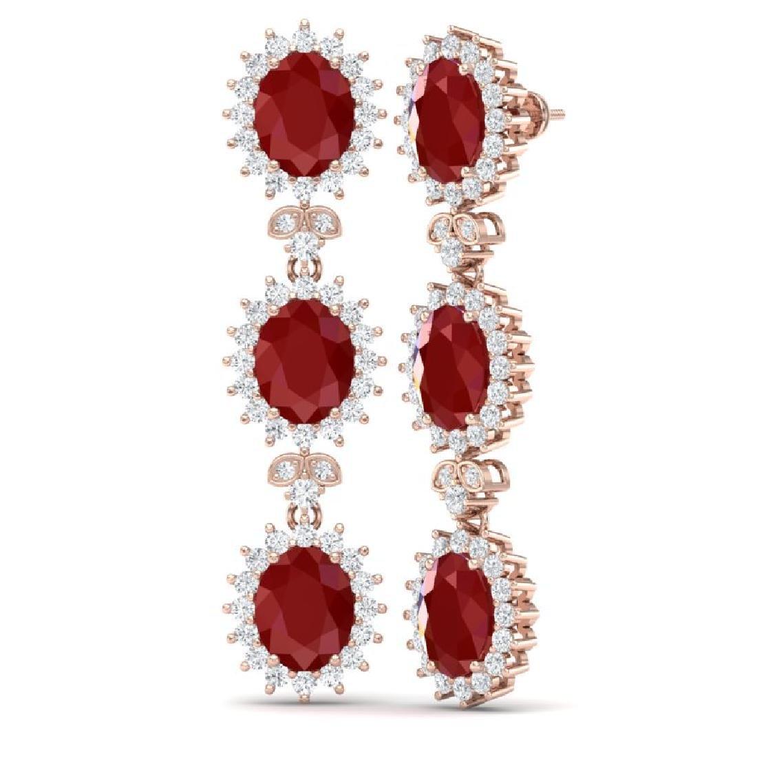 24.52 CTW Royalty Designer Ruby & VS Diamond Earrings - 3