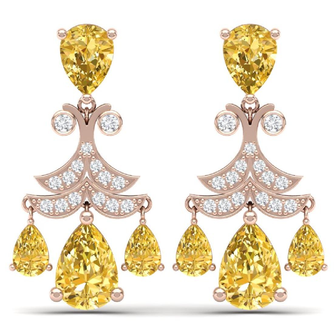 10.41 CTW Royalty Canary Citrine & VS Diamond Earrings