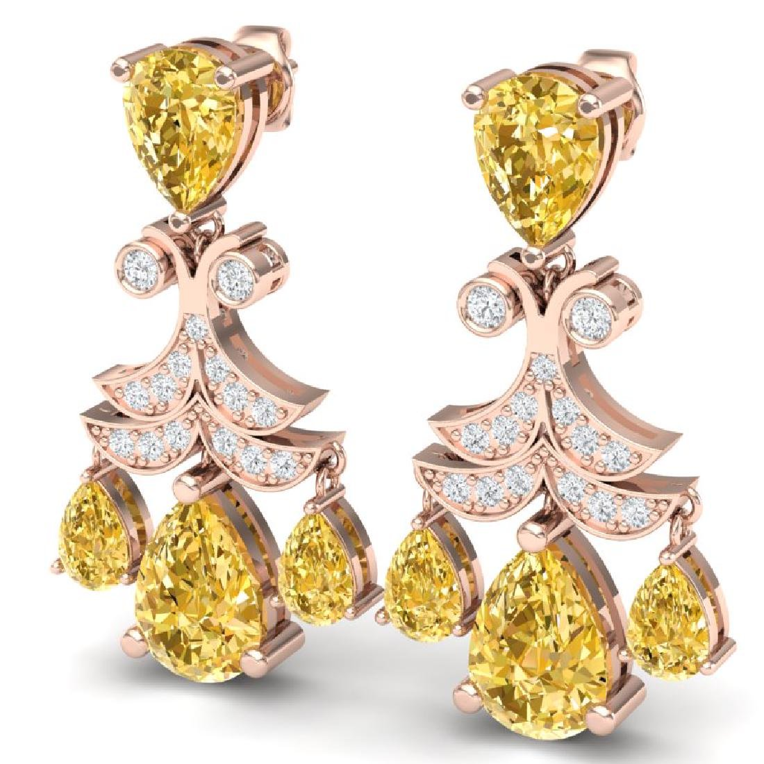 10.41 CTW Royalty Canary Citrine & VS Diamond Earrings - 2