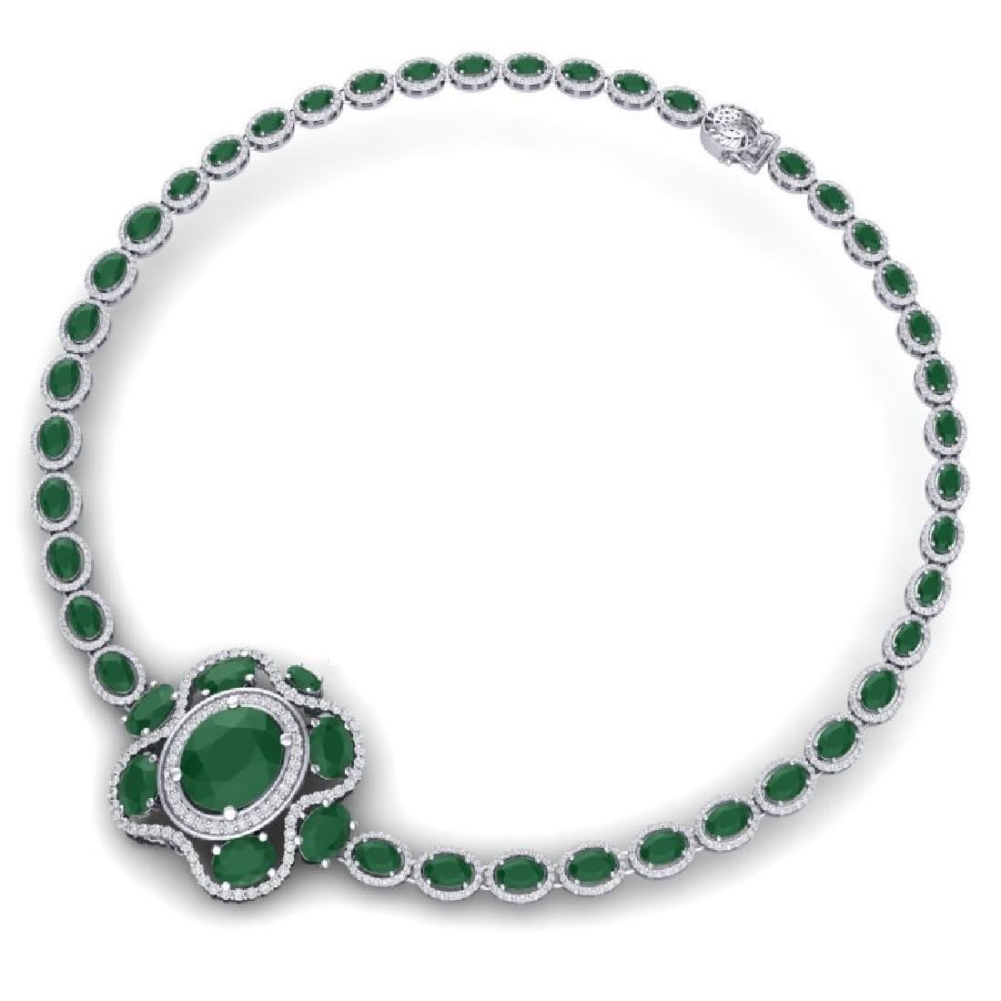 47.43 CTW Royalty Ruby & VS Diamond Necklace 18K White - 2