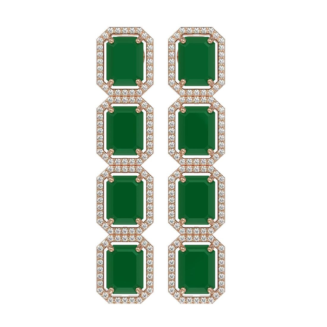 20.59 CTW Emerald & Diamond Halo Earrings 10K Rose Gold