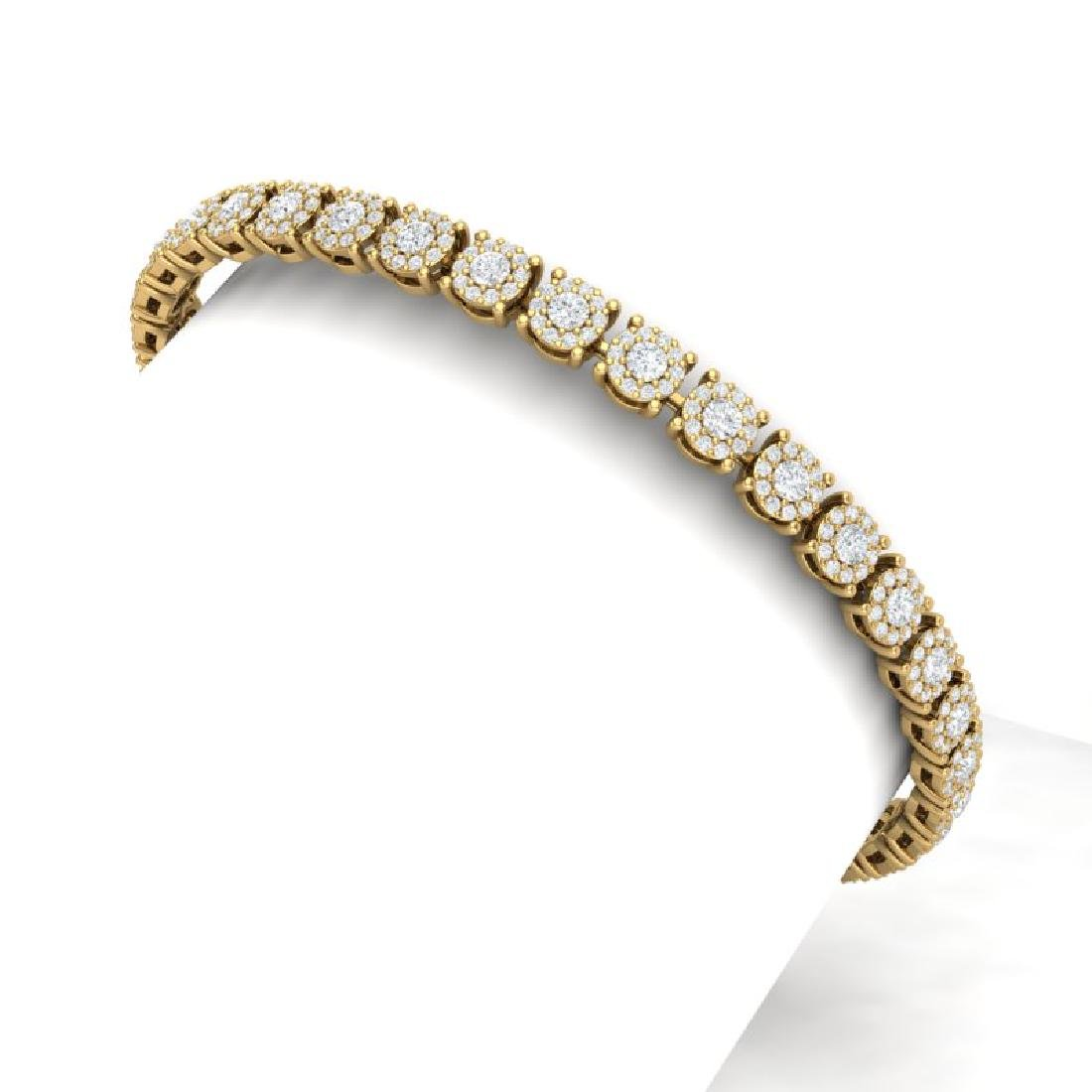 5 CTW Certified SI/I Diamond Halo Bracelet 18K Yellow