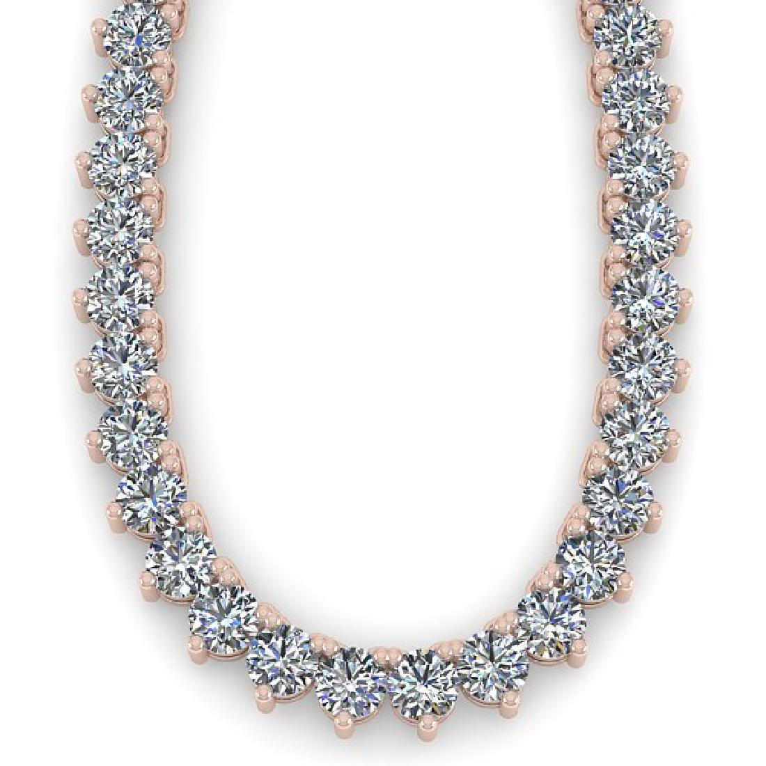 33 CTW Solitaire SI Diamond Necklace 18K Rose Gold - 2