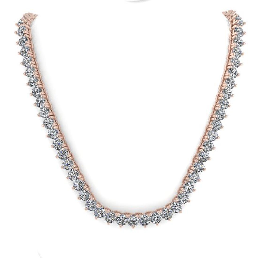 33 CTW Solitaire SI Diamond Necklace 18K Rose Gold - 3