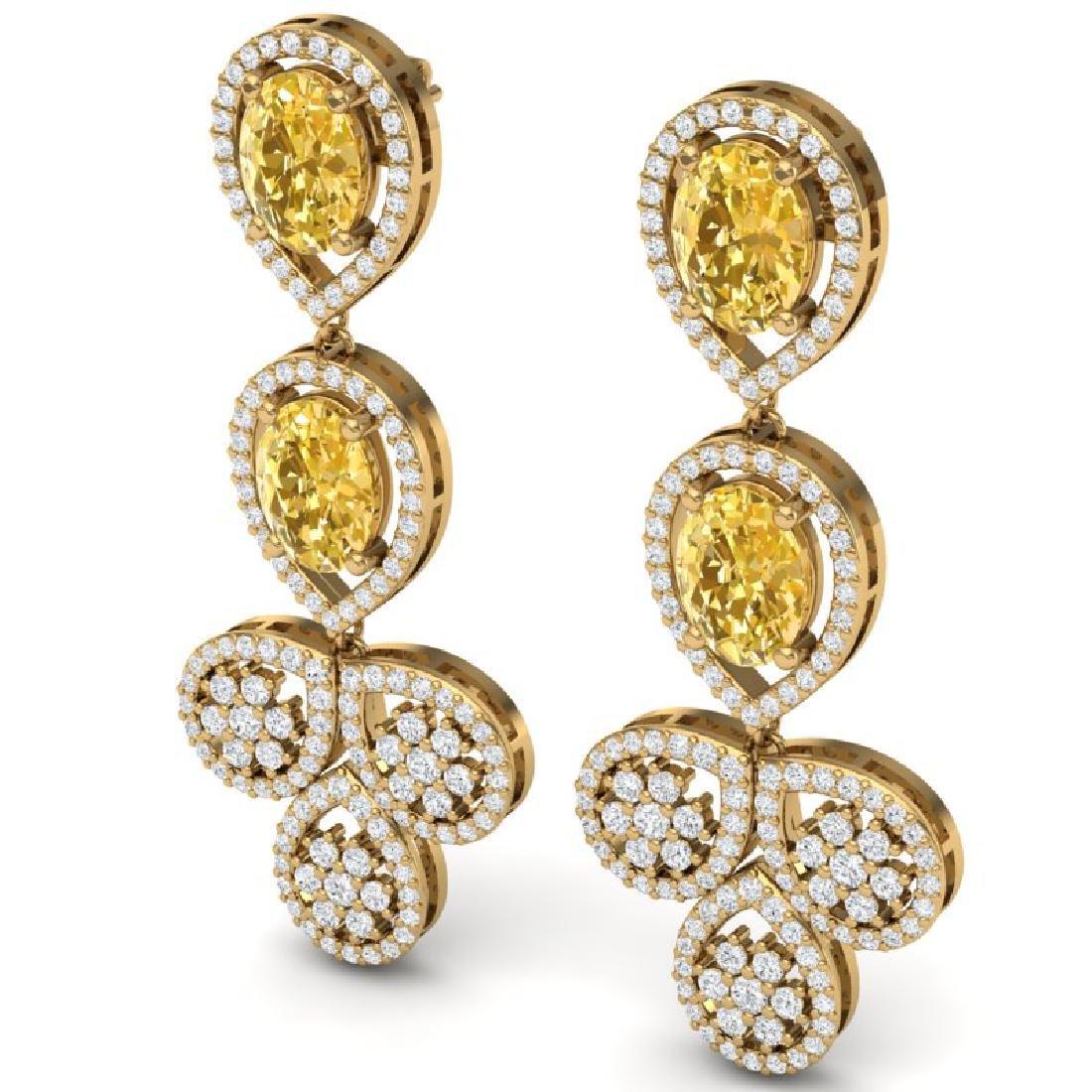 8.15 CTW Royalty Canary Citrine & VS Diamond Earrings - 2