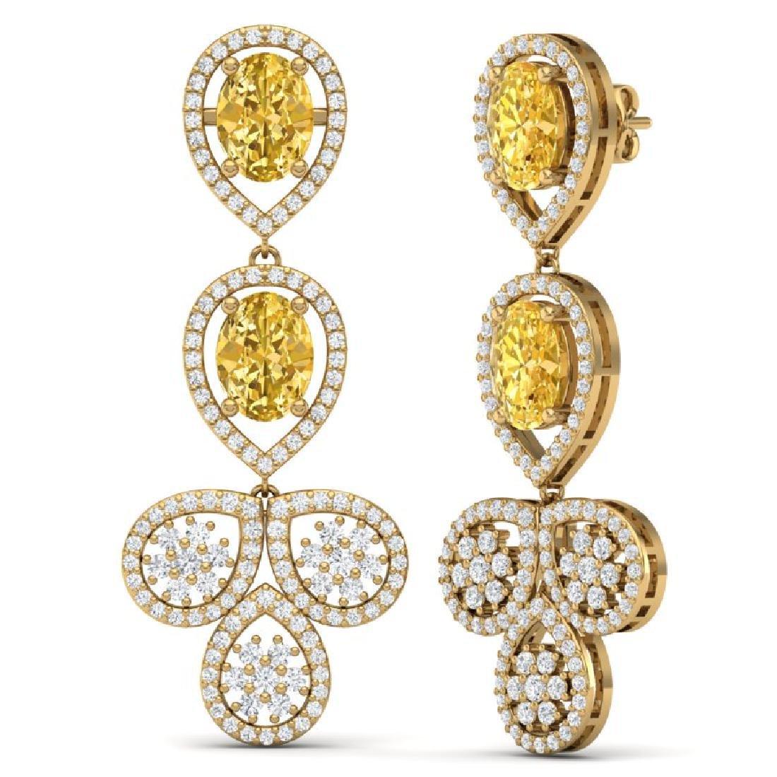 8.15 CTW Royalty Canary Citrine & VS Diamond Earrings - 3