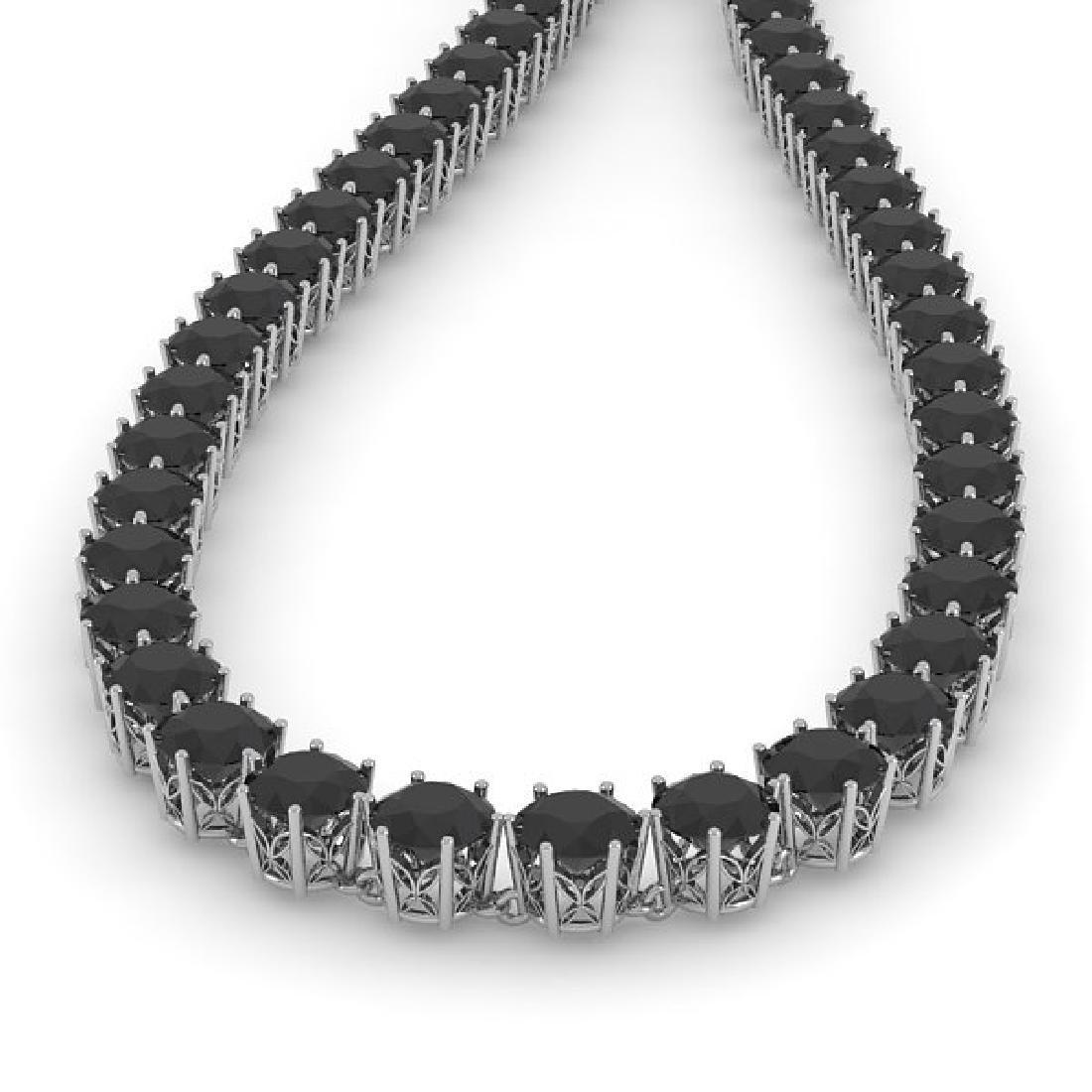 36 CTW Certified Black VS Diamond Necklace 18K White - 2