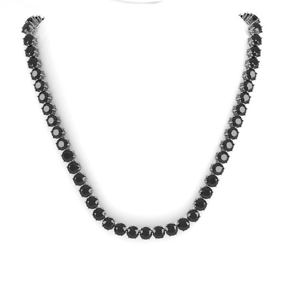 36 CTW Certified Black VS Diamond Necklace 18K White - 3