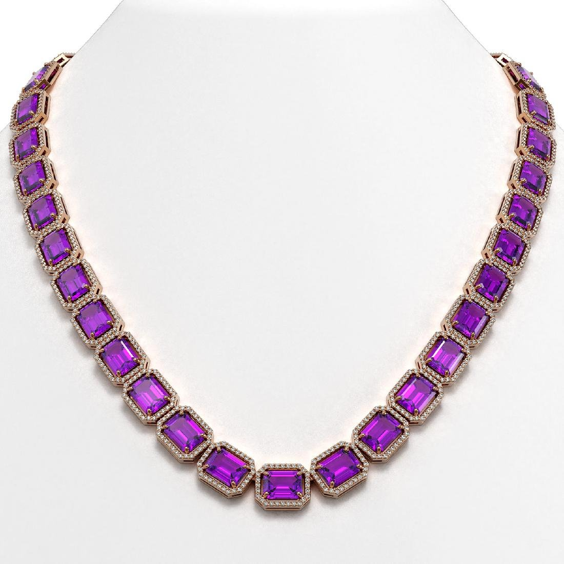76.69 CTW Amethyst & Diamond Halo Necklace 10K Rose