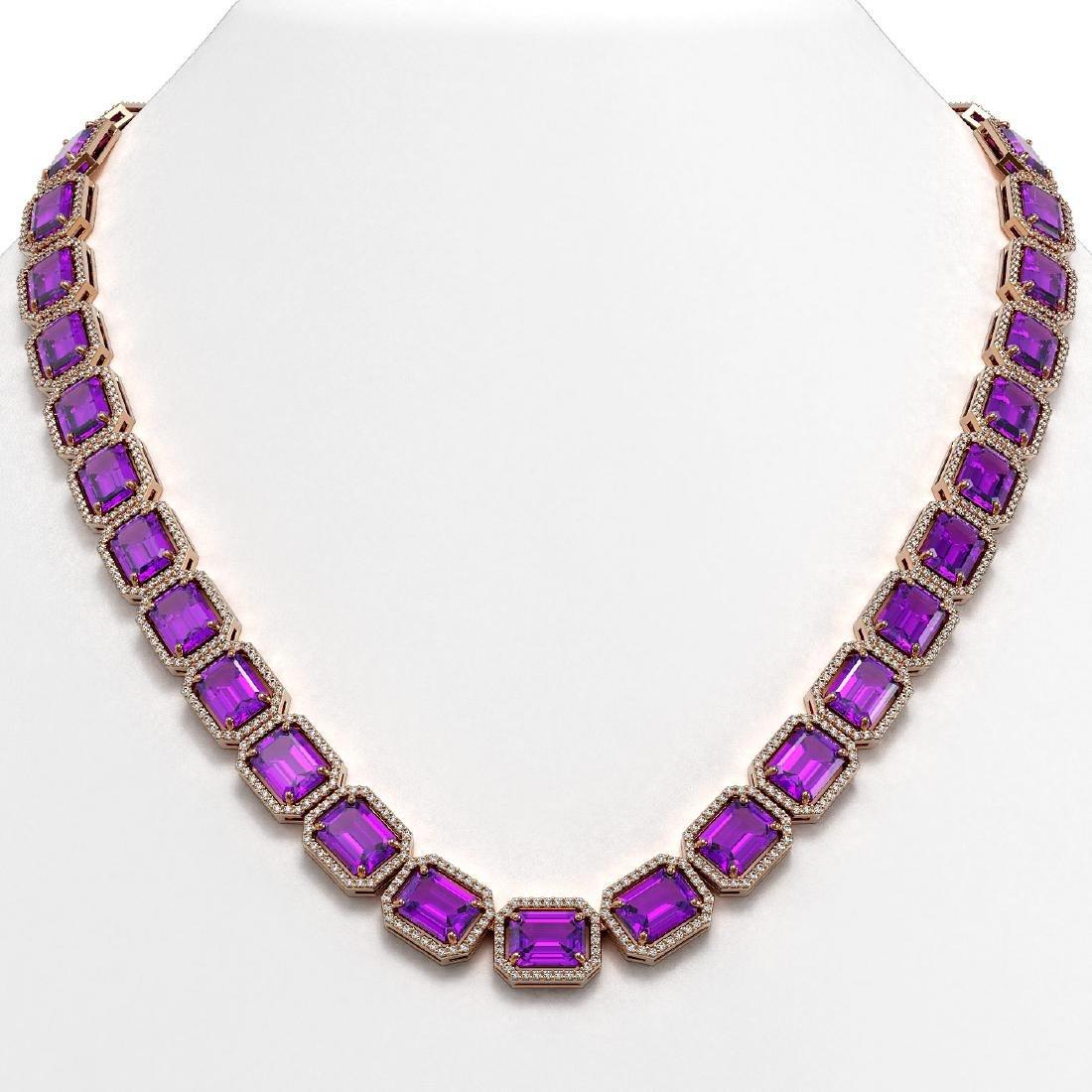 76.69 CTW Amethyst & Diamond Halo Necklace 10K Rose