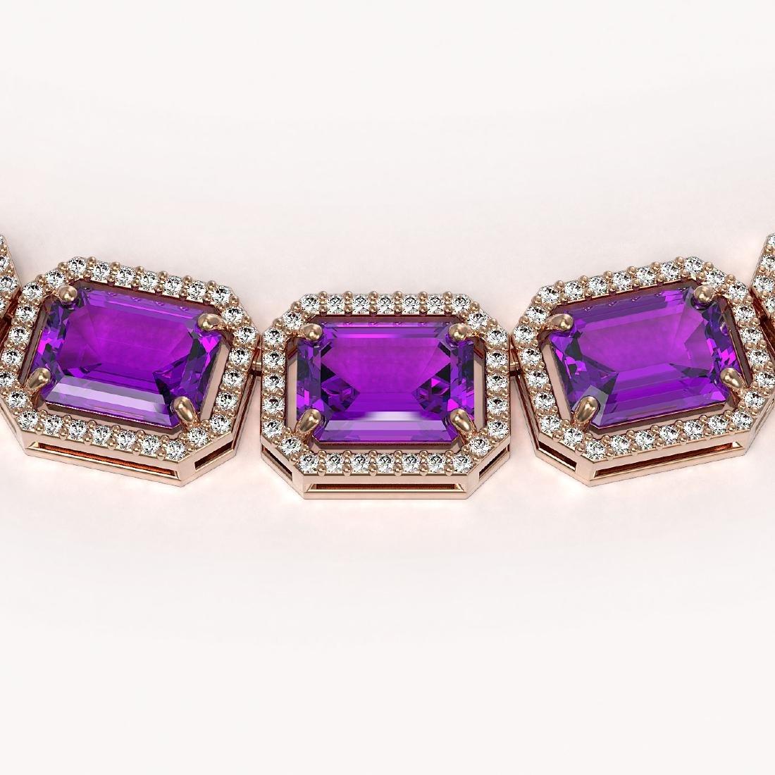 76.69 CTW Amethyst & Diamond Halo Necklace 10K Rose - 2