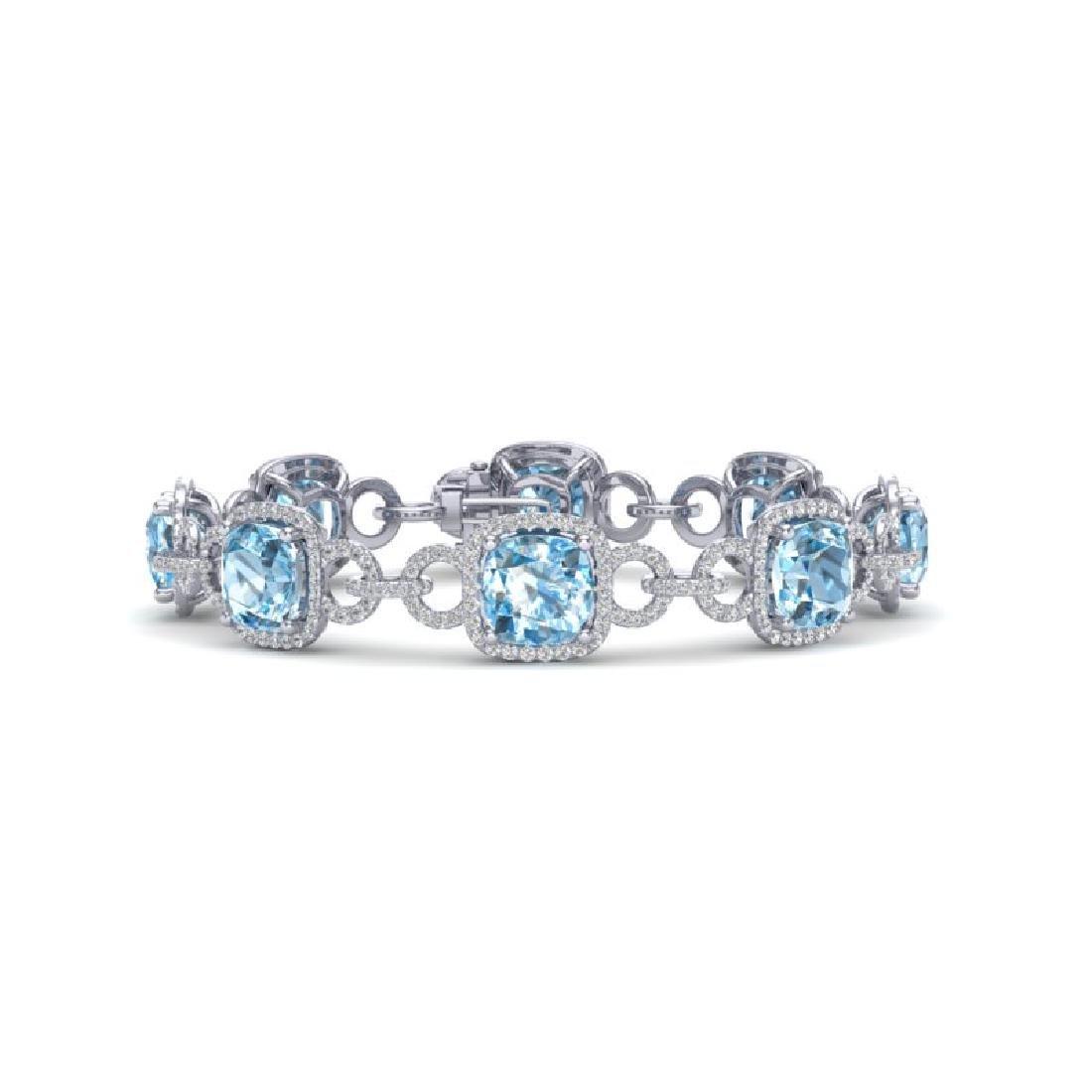 30 CTW Topaz & VS/SI Diamond Bracelet 14K White Gold