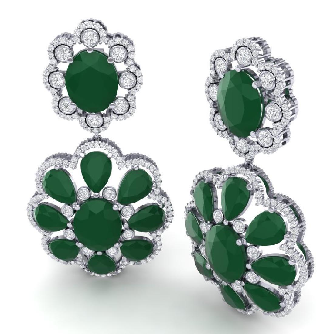 33.88 CTW Royalty Emerald & VS Diamond Earrings 18K - 3