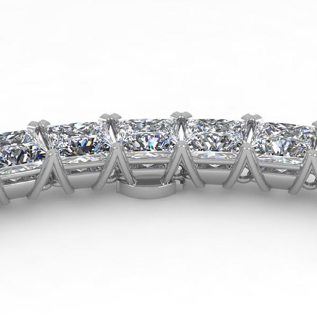 40 CTW Princess Certified SI Diamond Necklace 18K Rose