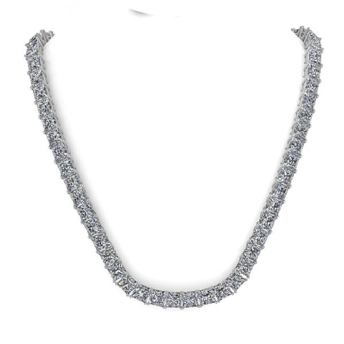 40 CTW Princess Certified SI Diamond Necklace 18K Rose - 3