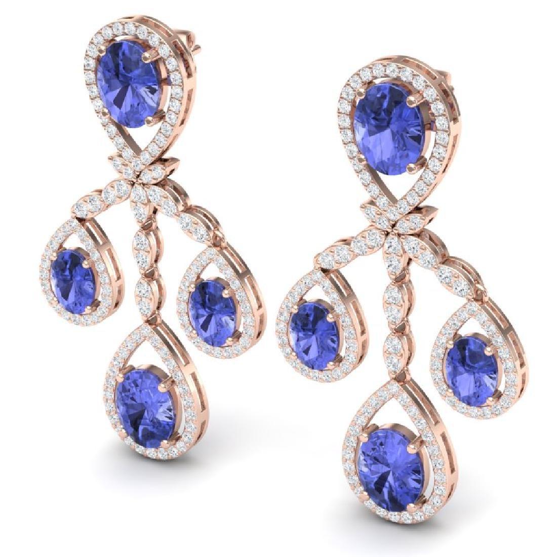 24.89 CTW Royalty Tanzanite & VS Diamond Earrings 18K - 2