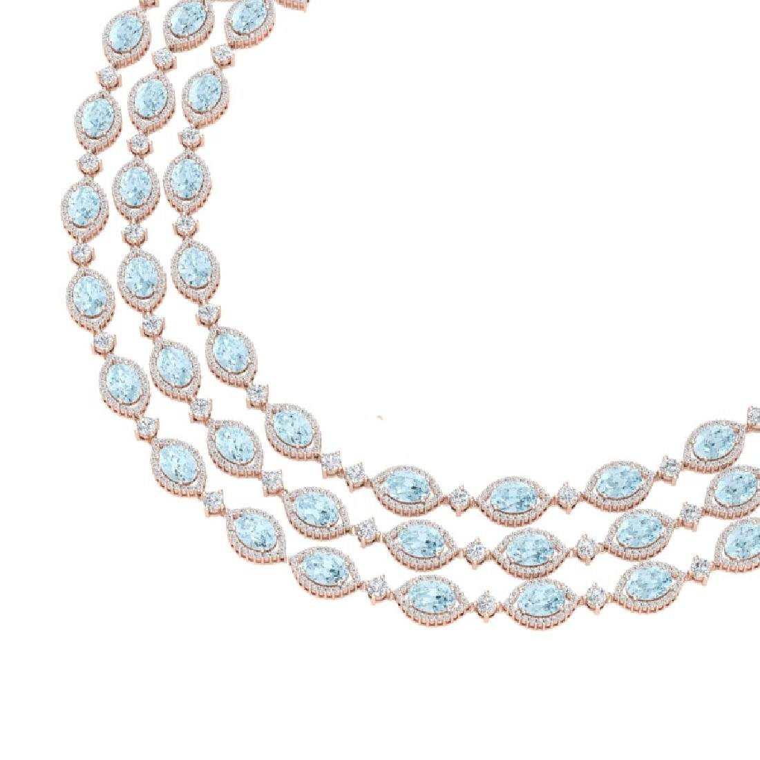 84.57 CTW Royalty Sky Topaz & VS Diamond Necklace 18K