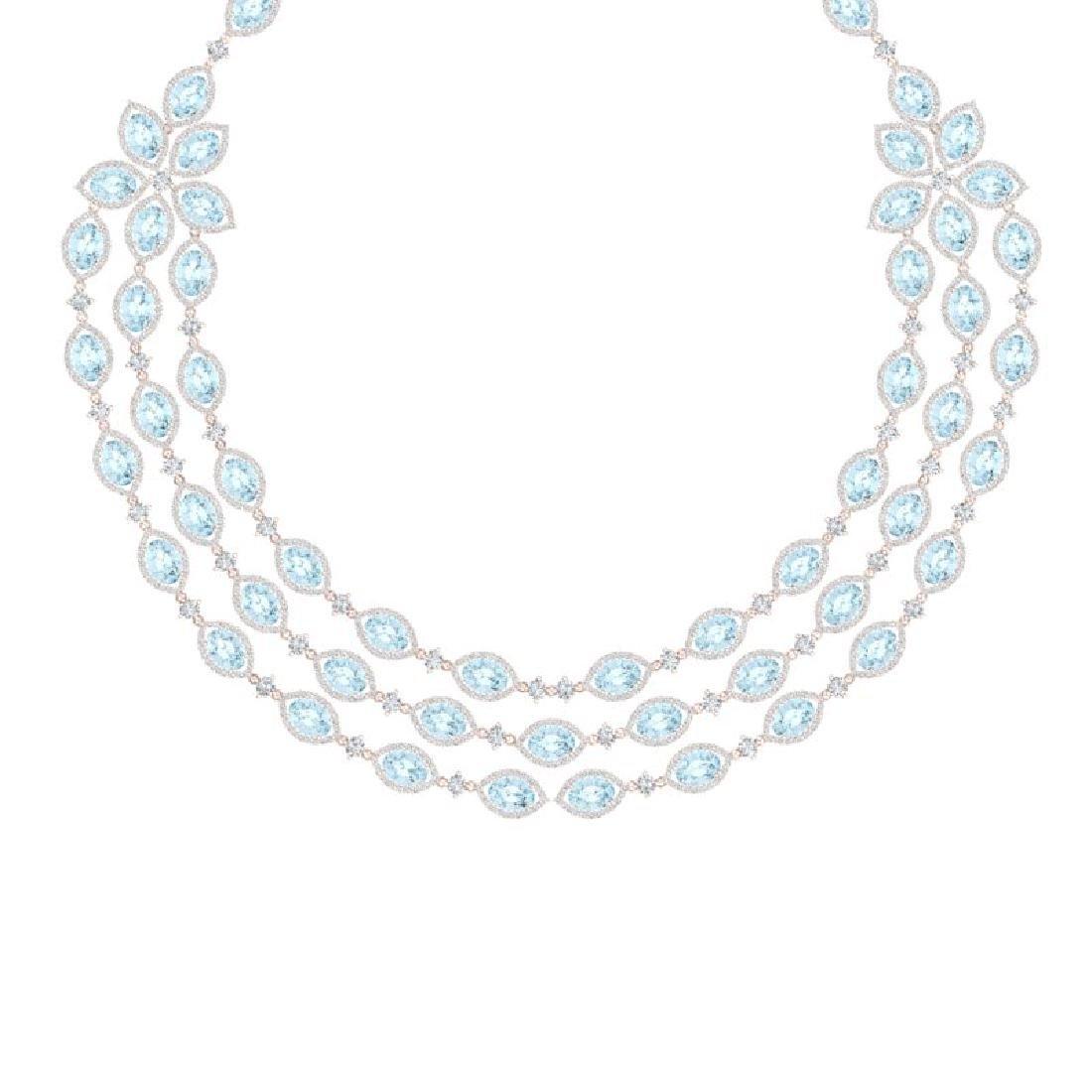 84.57 CTW Royalty Sky Topaz & VS Diamond Necklace 18K - 2
