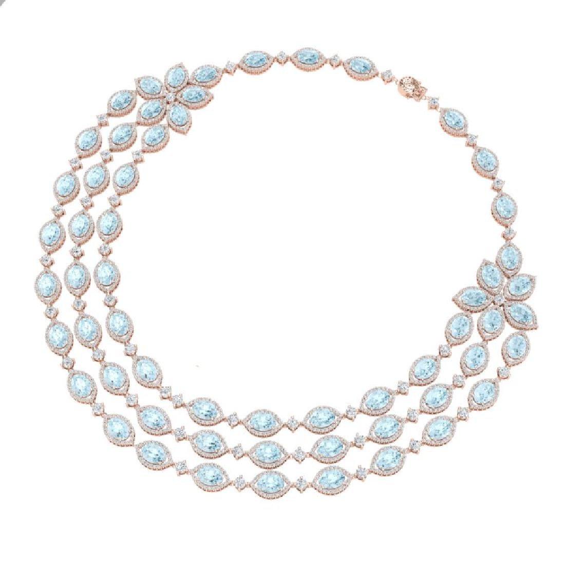 84.57 CTW Royalty Sky Topaz & VS Diamond Necklace 18K - 3
