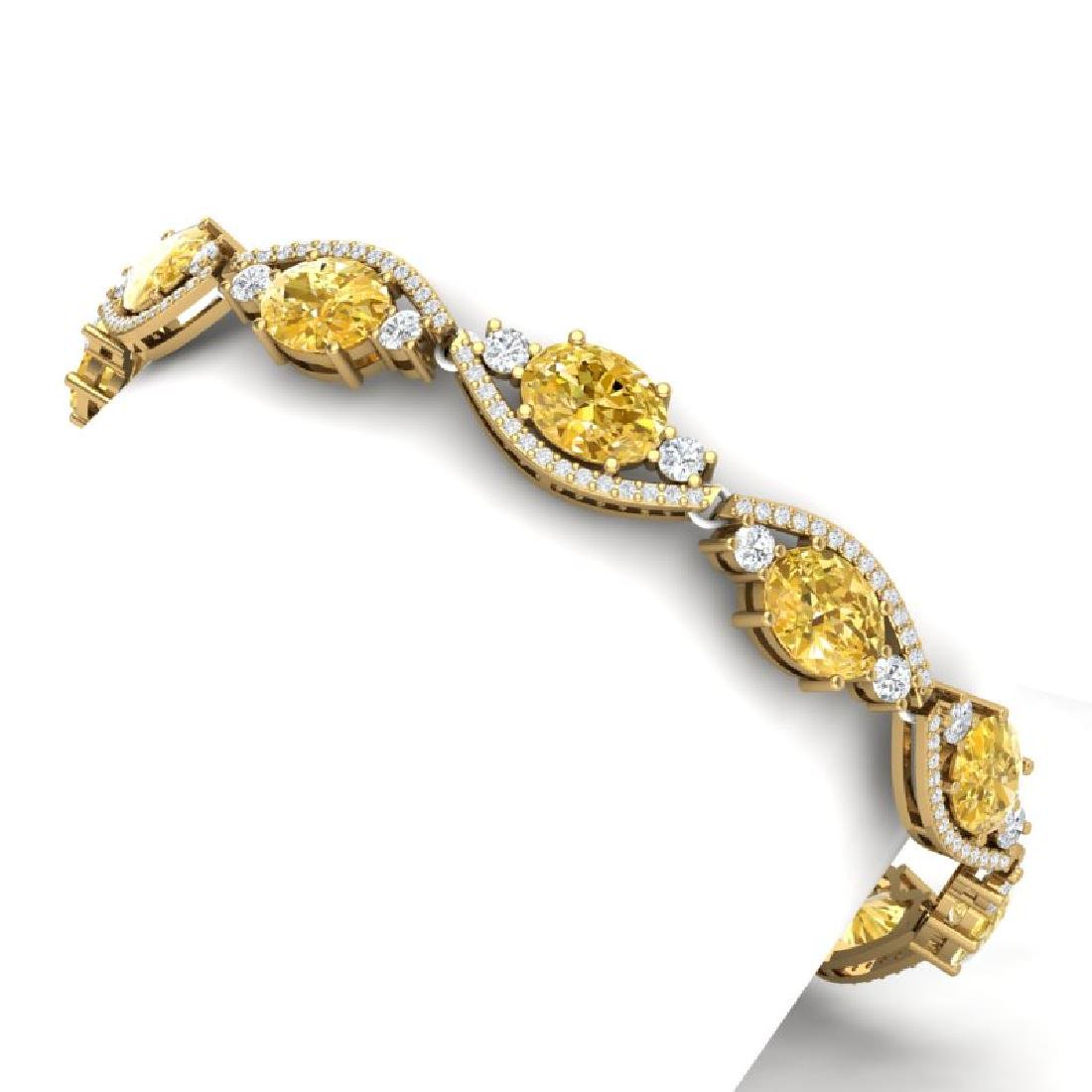 18.3 CTW Royalty Canary Citrine & VS Diamond Bracelet - 2