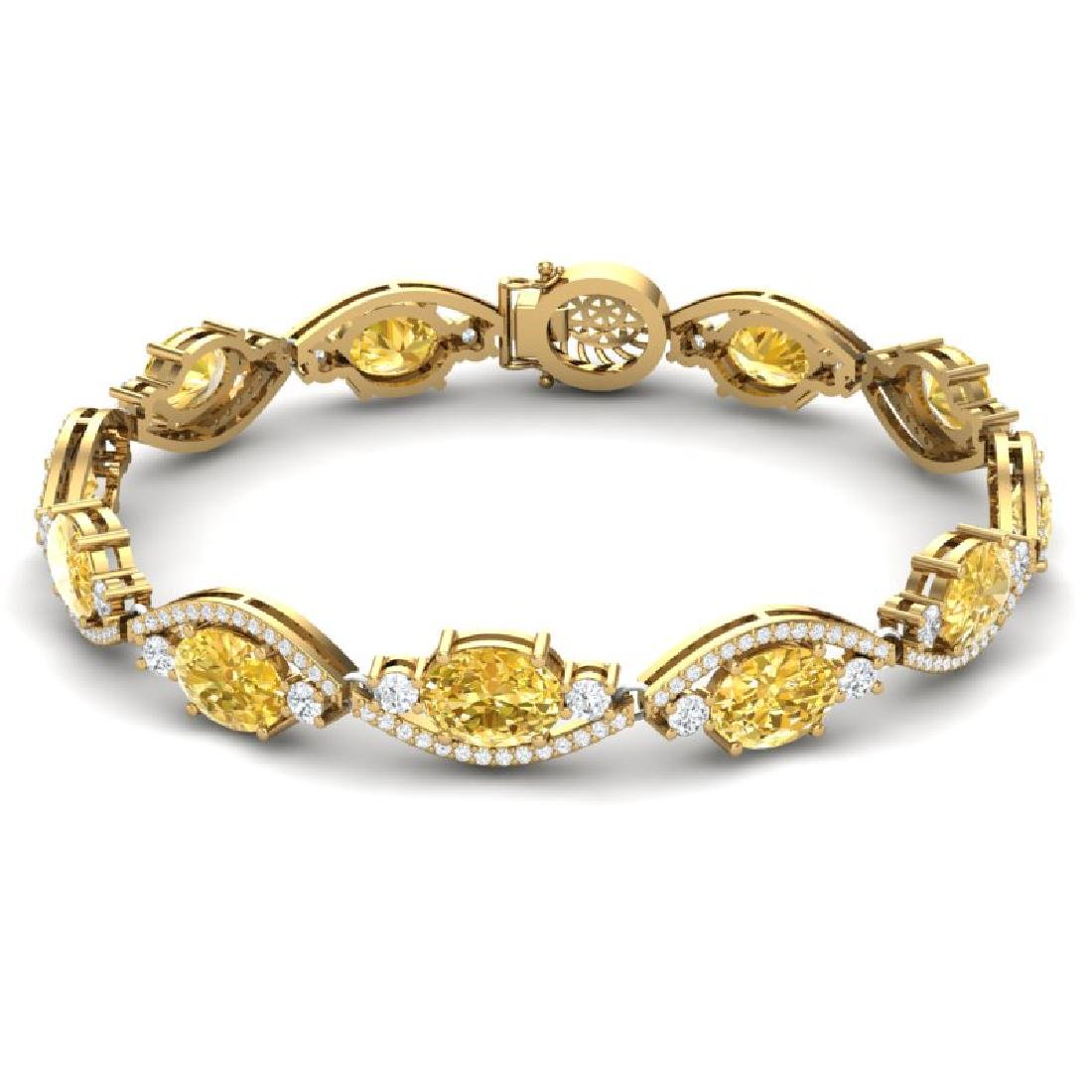 18.3 CTW Royalty Canary Citrine & VS Diamond Bracelet - 3