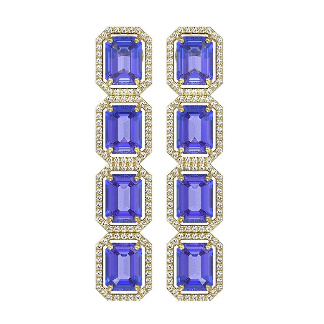 19.39 CTW Tanzanite & Diamond Halo Earrings 10K Yellow
