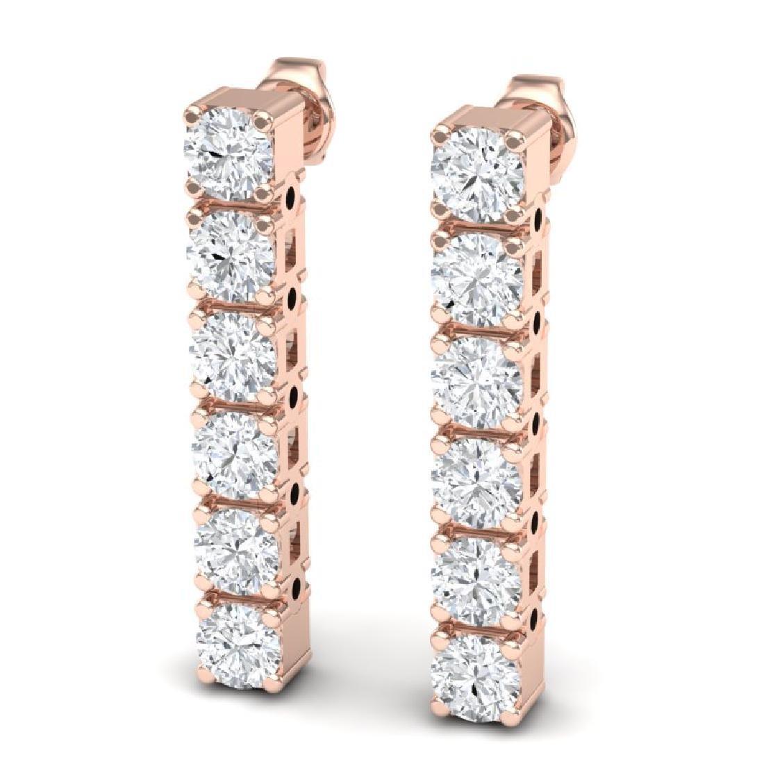 3 CTW Certified VS/SI Diamond Earrings 18K Rose Gold - 2