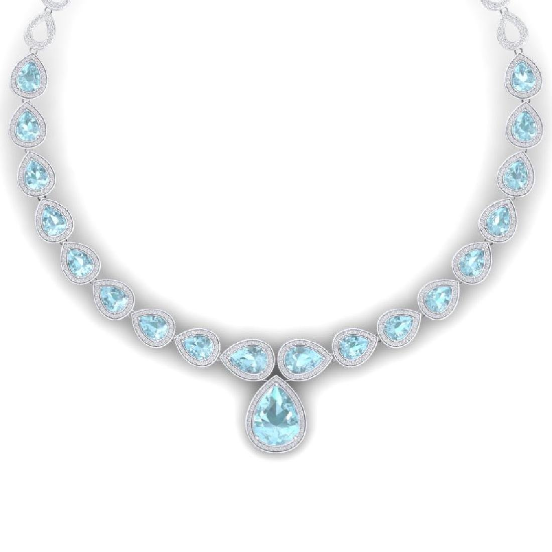 54 CTW Royalty Sky Topaz & VS Diamond Necklace 18K