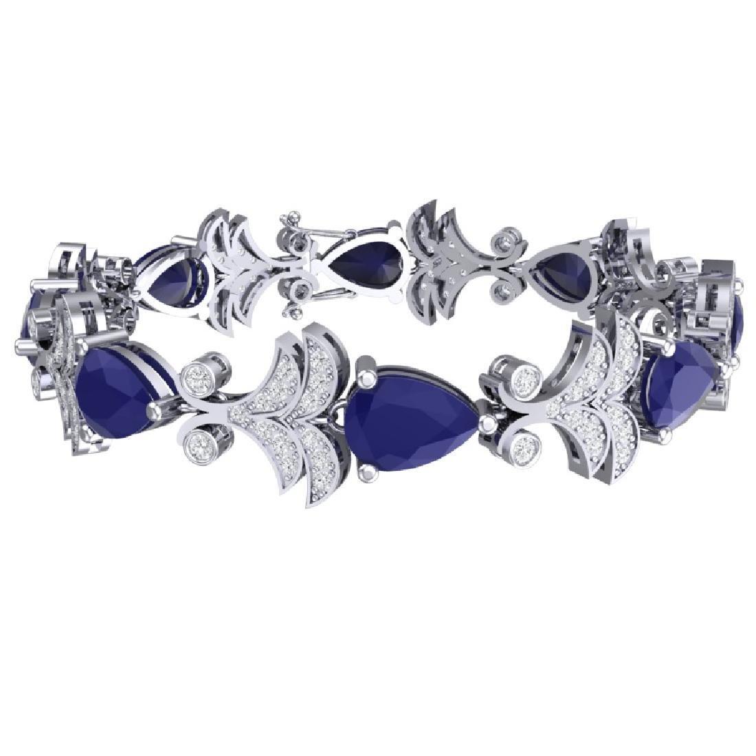 24.8 CTW Royalty Sapphire & VS Diamond Bracelet 18K - 2
