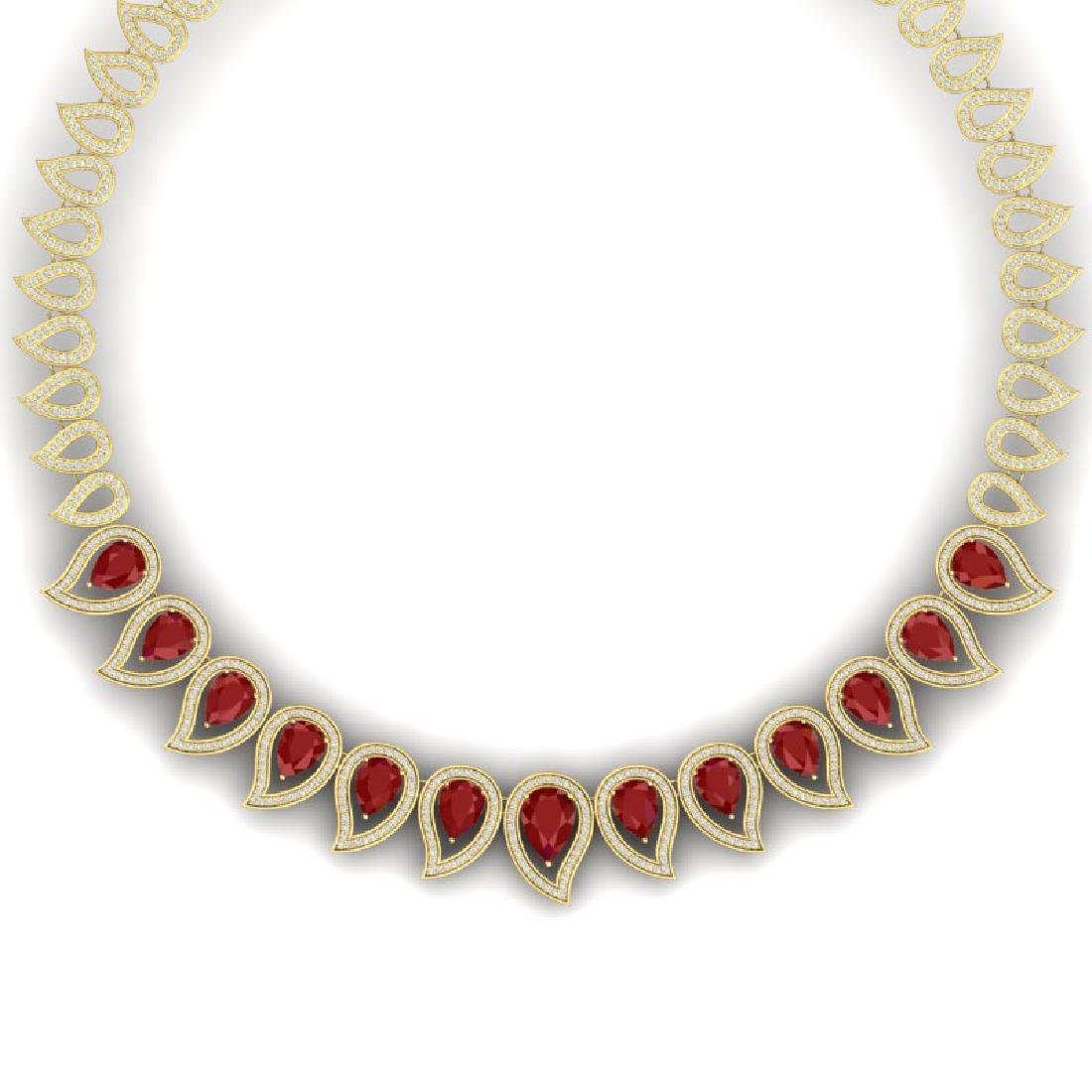 33.4 CTW Royalty Designer Ruby & VS Diamond Necklace
