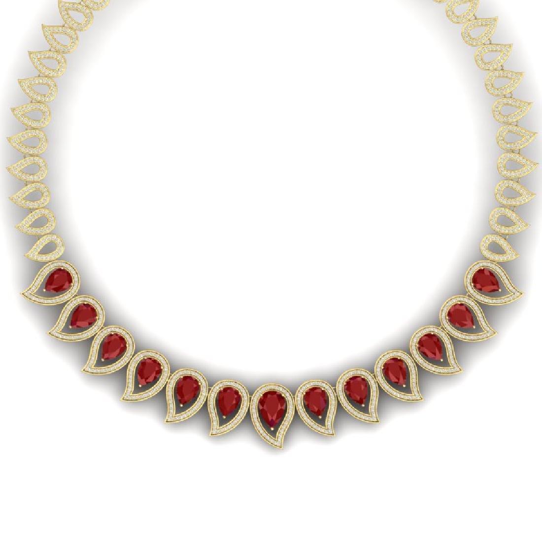 33.4 CTW Royalty Designer Ruby & VS Diamond Necklace