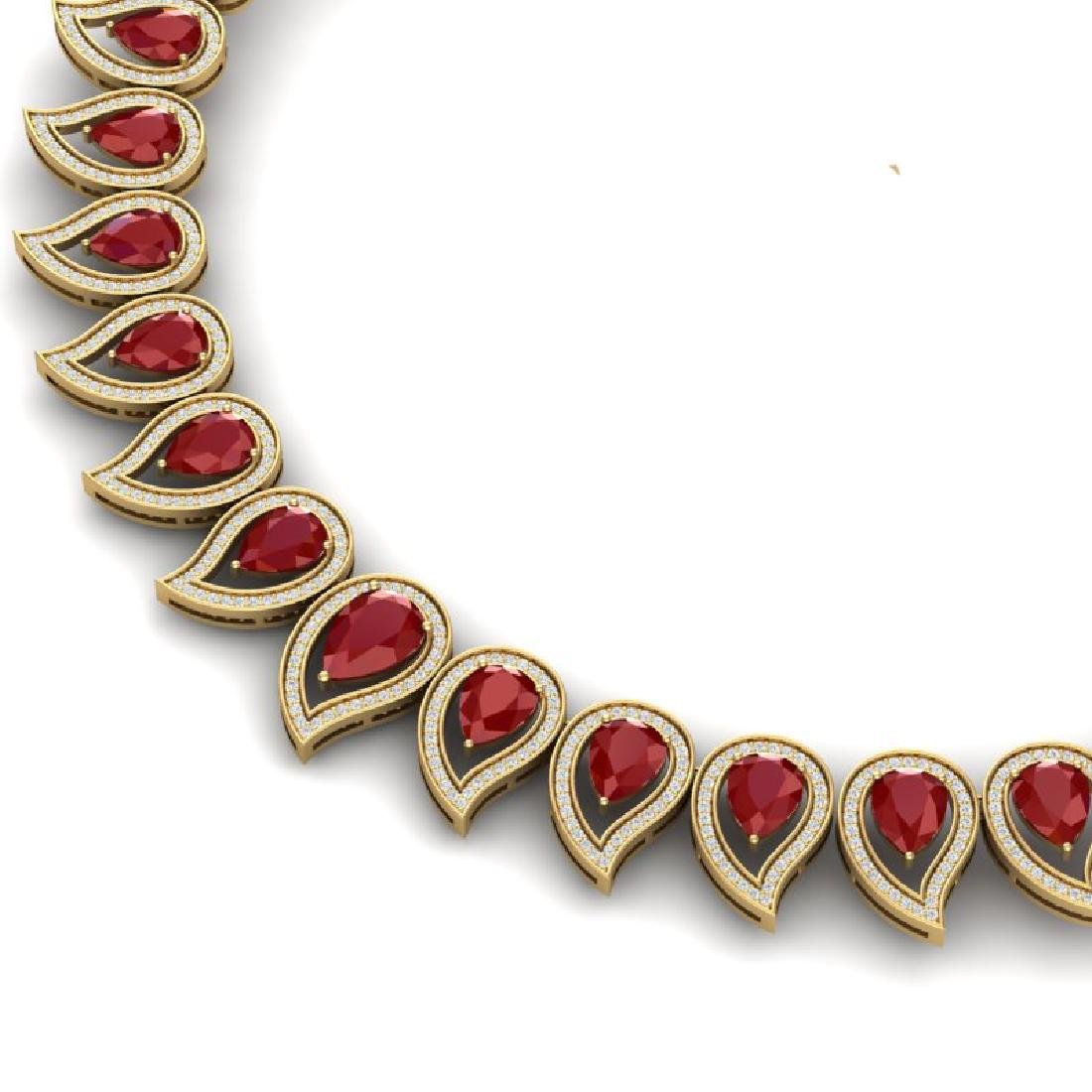 33.4 CTW Royalty Designer Ruby & VS Diamond Necklace - 2