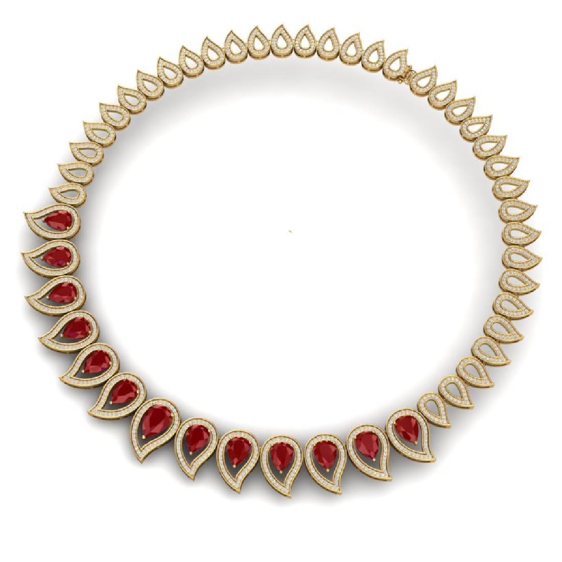 33.4 CTW Royalty Designer Ruby & VS Diamond Necklace - 3