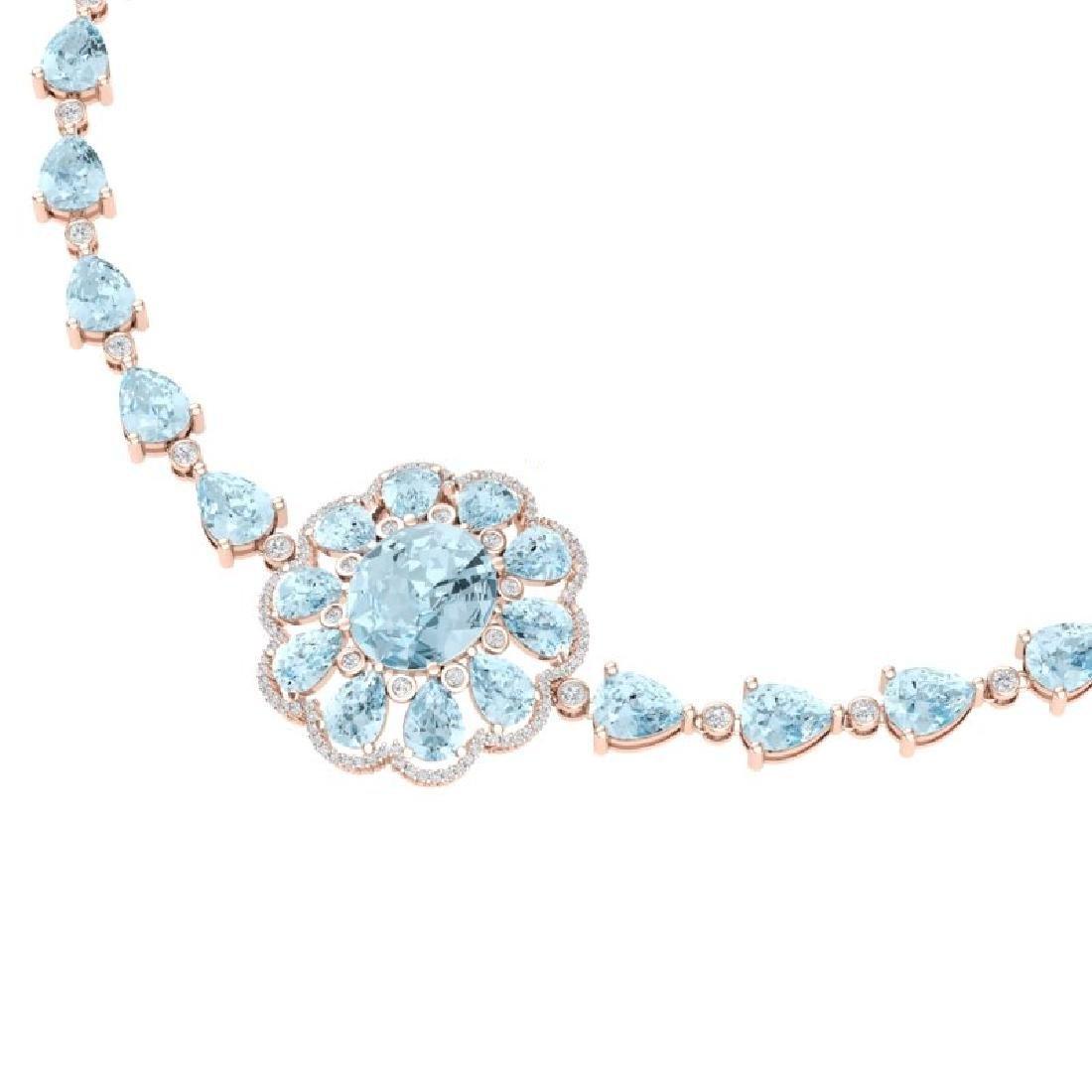 75.99 CTW Royalty Sky Topaz & VS Diamond Necklace 18K