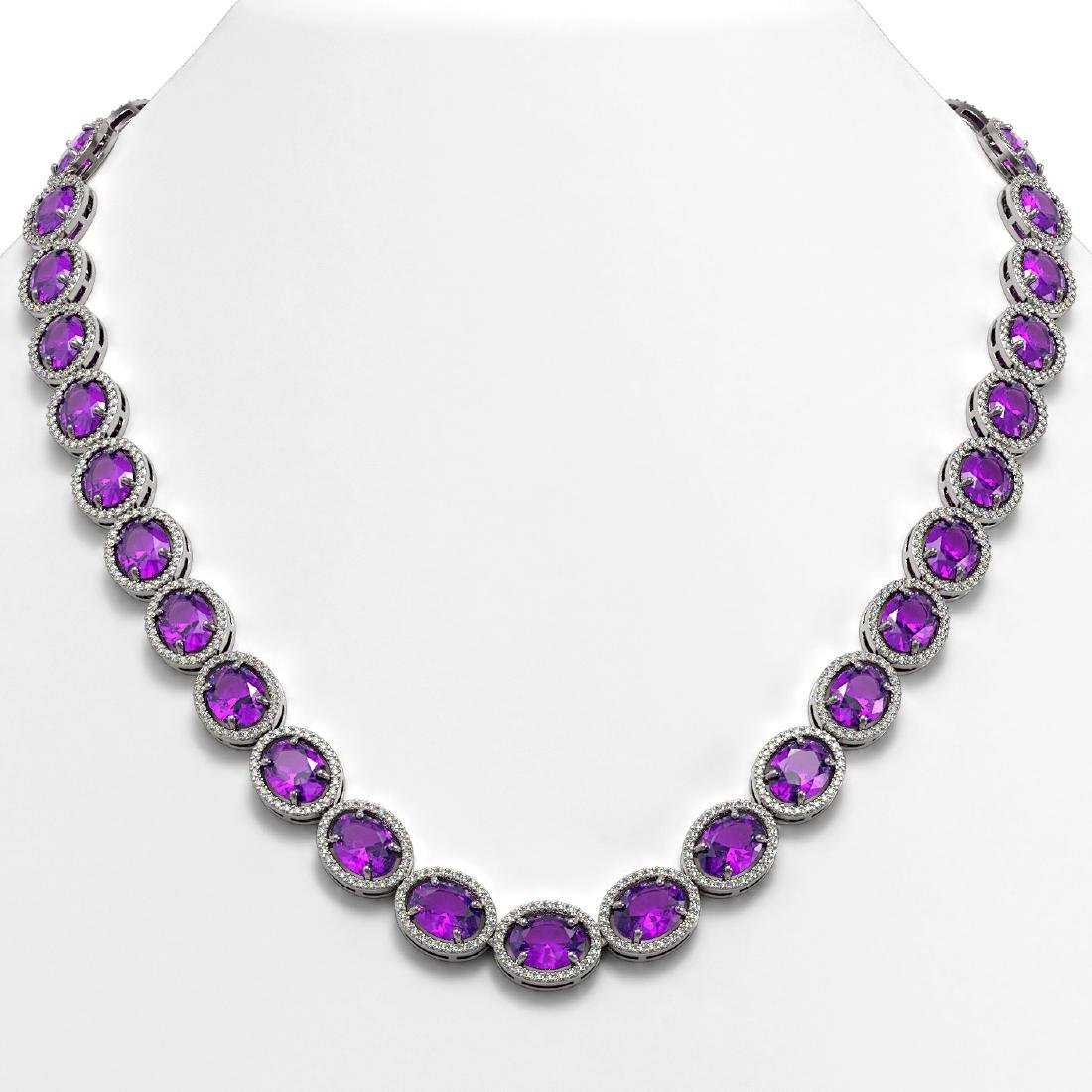 57.07 CTW Amethyst & Diamond Halo Necklace 10K White
