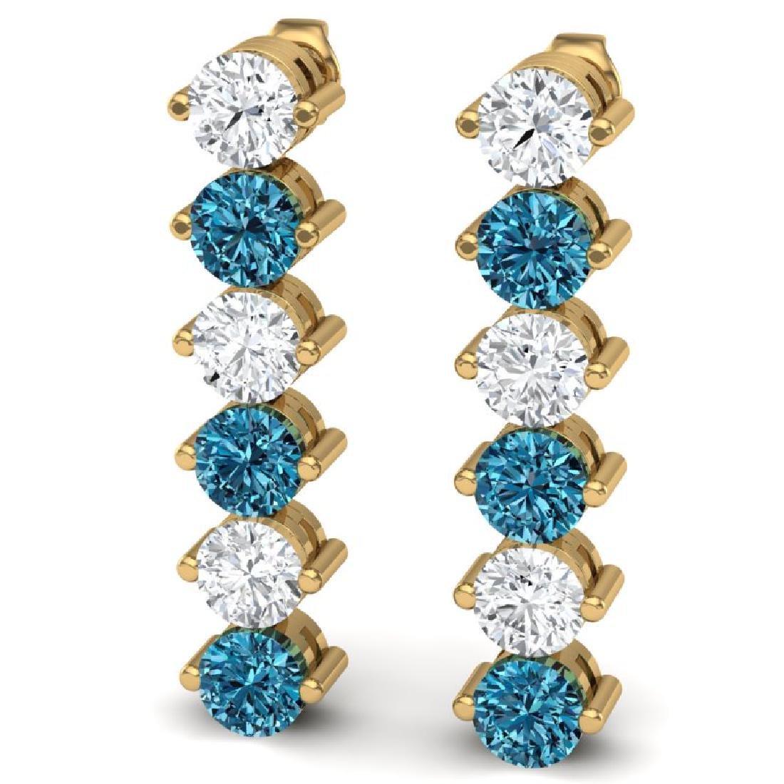 6 CTW Certified SI/I Intense Blue & White Diamond - 2