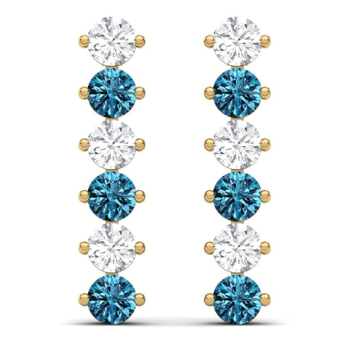 6 CTW Certified SI/I Intense Blue & White Diamond - 3