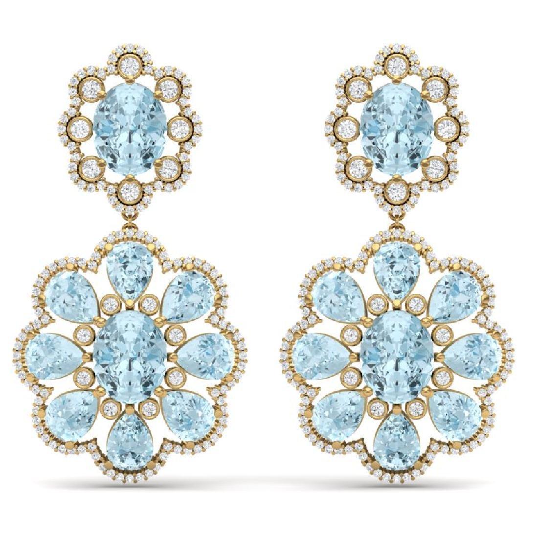 32.99 CTW Royalty Sky Topaz & VS Diamond Earrings 18K