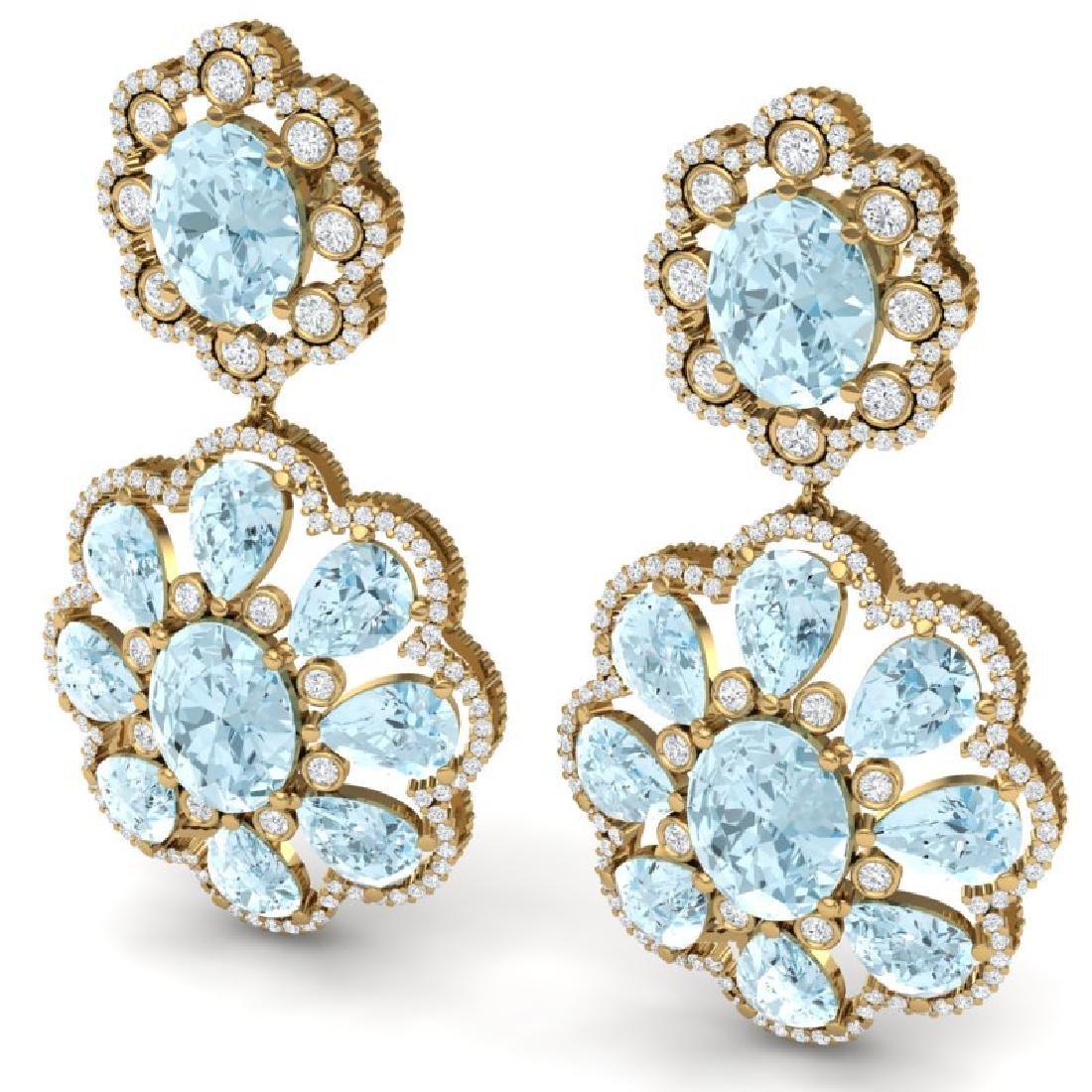 32.99 CTW Royalty Sky Topaz & VS Diamond Earrings 18K - 2