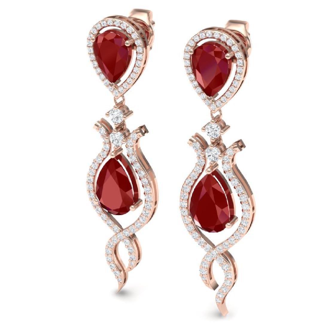 16.57 CTW Royalty Designer Ruby & VS Diamond Earrings - 2