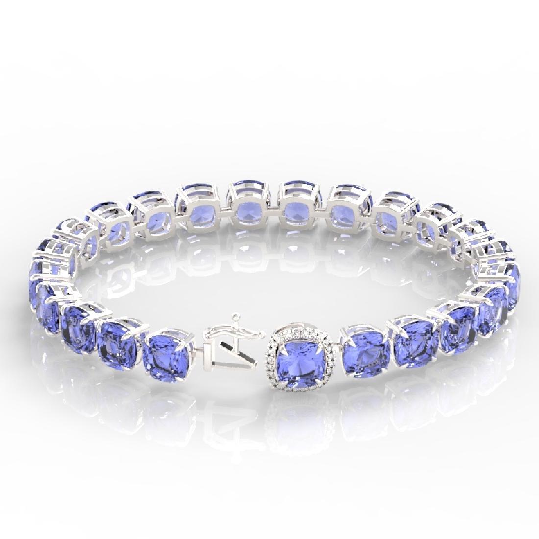 40 CTW Tanzanite & Pave VS/SI Diamond Bracelet 14K - 3