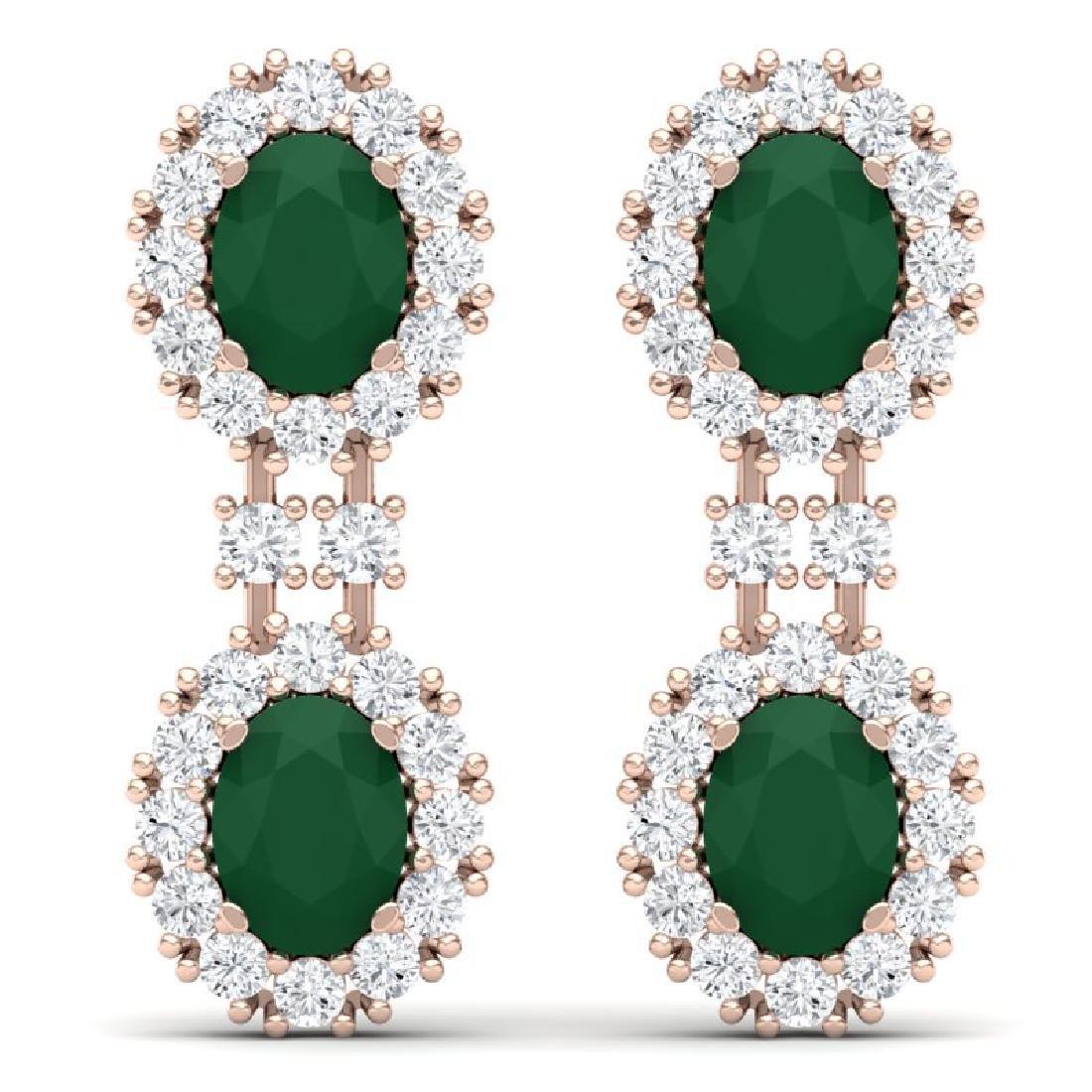 8.98 CTW Royalty Emerald & VS Diamond Earrings 18K Rose