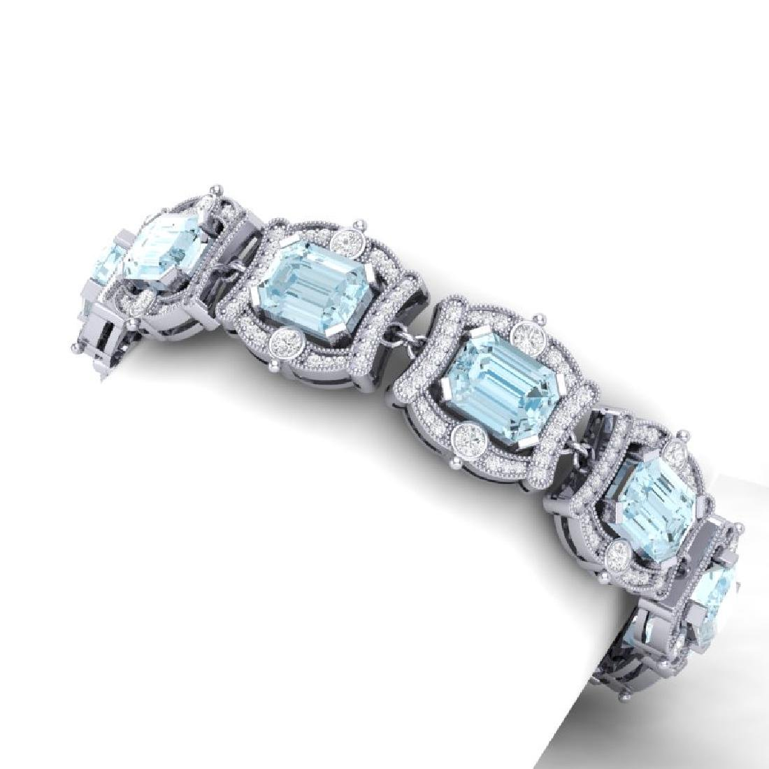 42.18 CTW Royalty Sky Topaz & VS Diamond Bracelet 18K - 2
