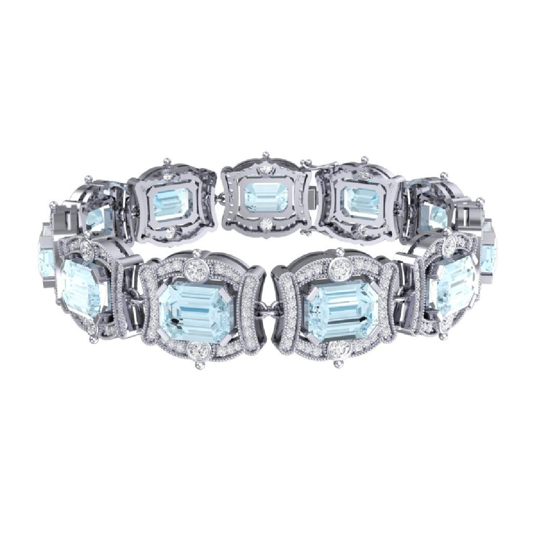 42.18 CTW Royalty Sky Topaz & VS Diamond Bracelet 18K - 3