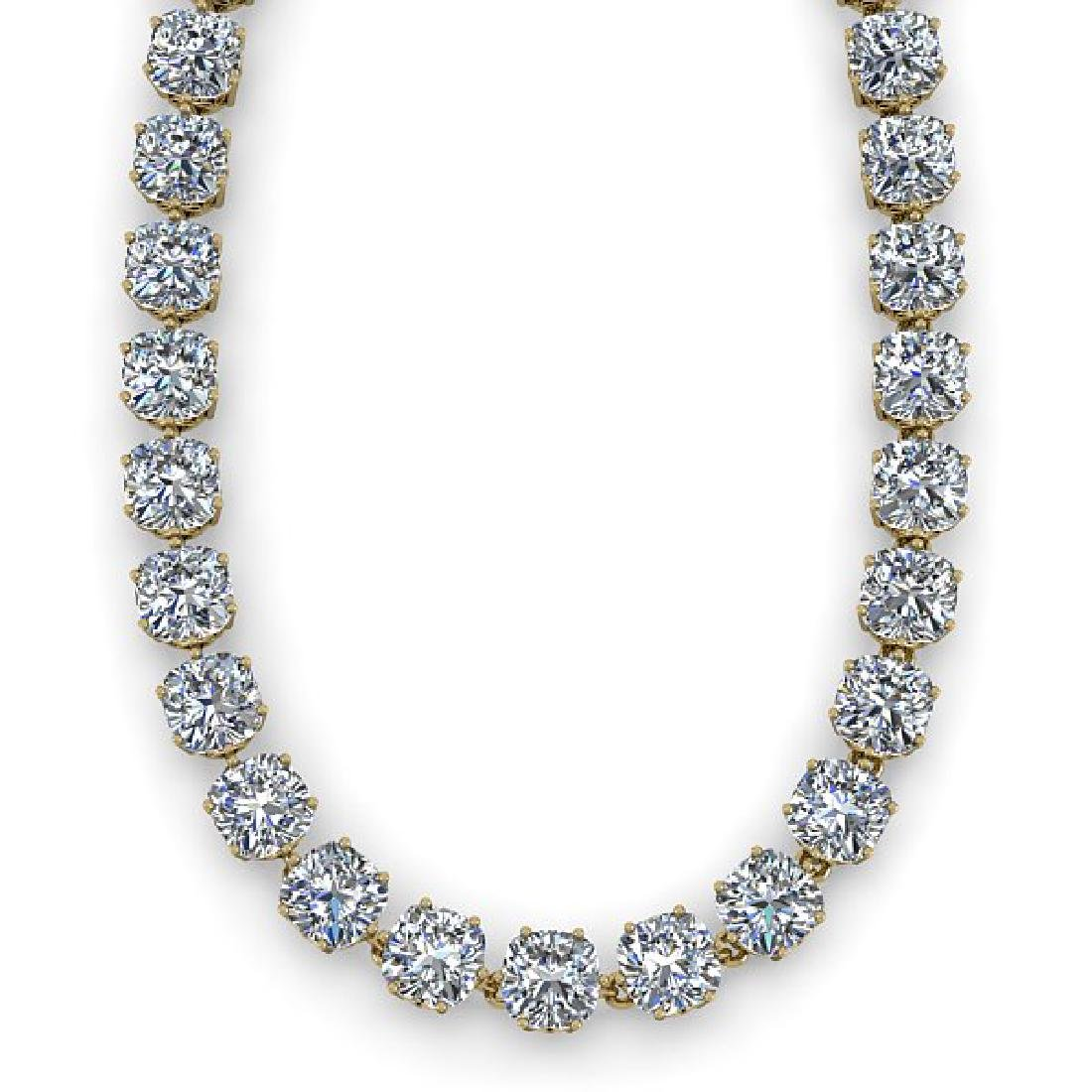 34 CTW Cushion Cut SI Diamond Necklace 18K Yellow Gold