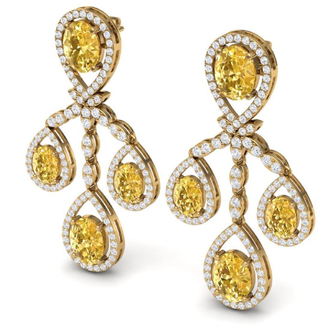 20.69 CTW Royalty Canary Citrine & VS Diamond Earrings - 2